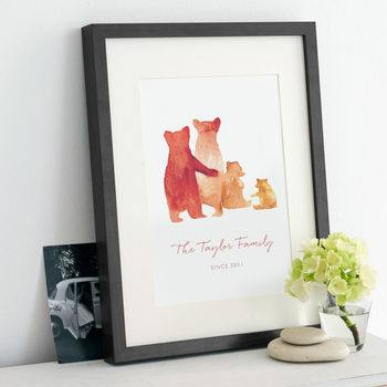 Mother's Day Gift Guide for Not on the High Street, normal personalised bear family print%, daily-dad, love-and-relationships%