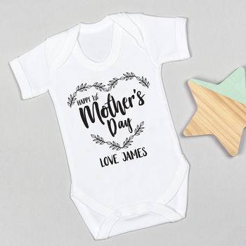 Mother's Day Gift Guide for Not on the High Street, normal personalised first mother s day mono bodysuit%, daily-dad, love-and-relationships%