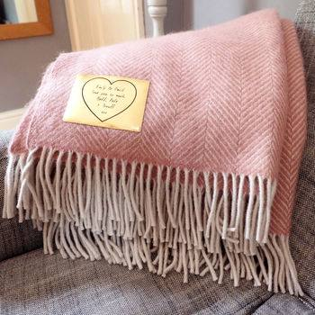Mother's Day Gift Guide for Not on the High Street, normal personalised wool throw with gold leather patch%, daily-dad, love-and-relationships%