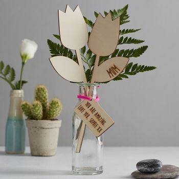 Mother's Day Gift Guide for Not on the High Street, normal thank you mum wooden personalised flowers%, daily-dad, love-and-relationships%